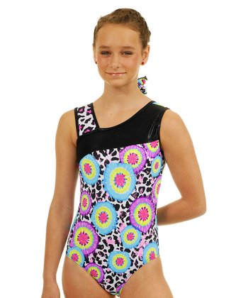 Black & Pink Tie-Dye Leopard Leotard & Hair Tie - Girls