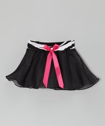 Black & Fuchsia Bow Georgette Skirt - Girls