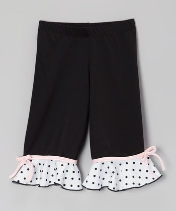 Black Ruffle Bow Capri Pants - Toddler & Girls