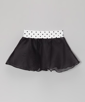 Black Polka Dot Georgette Skirt - Girls