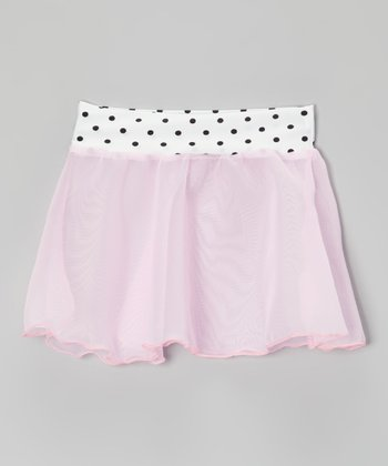 Pink Polka Dot Georgette Skirt - Girls