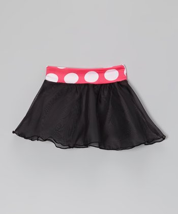 Black & Hot Pink Polka Dot Skirt - Toddler & Girls