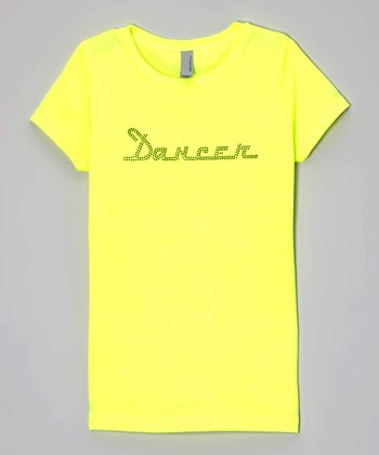 Neon Yellow Rhinestone 'Dancer' Tee - Girls & Women