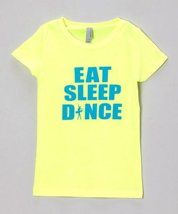 Peanuts & Monkeys Neon Yellow 'Eat Sleep Dance' Tee - Girls