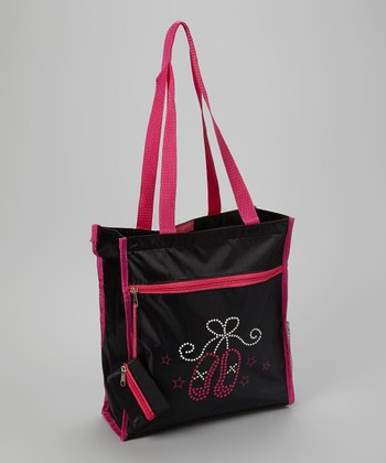 Black & Pink Ballet Slipper Tote Bag & Wristlet