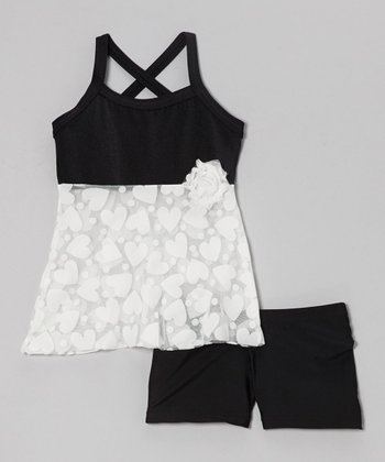 White Heart Halter Top & Black Shorts - Girls