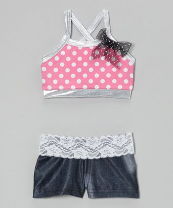 Pink Polka Dot Halter Crop Top & Black Lace Shorts - Girls