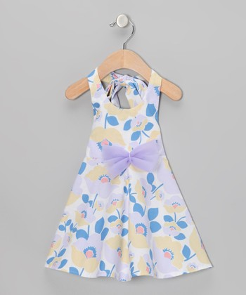 White & Cadet Blue Floral Halter Dress - Infant