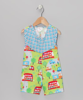 Green & Red City Trucks Romper - Infant