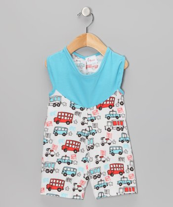 White & Blue Beep Beep Romper - Infant