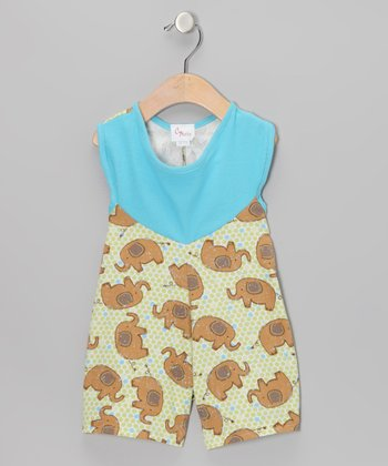 Light Brown & Green Elephants Romper - Infant