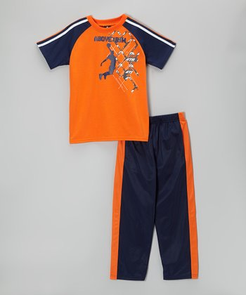 Above The Rim Navy & Orange Tee & Track Pants - Boys