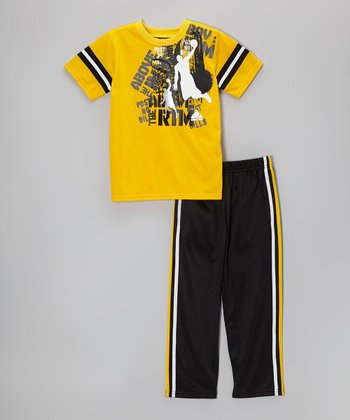 Above The Rim Yellow & Black Tee & Track Pants - Infant, Toddler & Boys