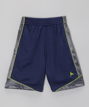 Navy & Silver Basketball Shorts - Boys