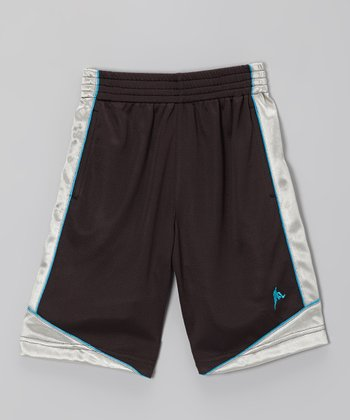 Black & Cyan Basketball Shorts - Boys
