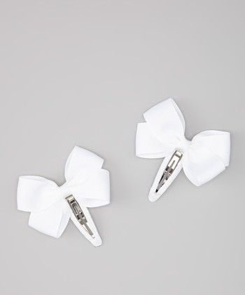 White Angel Bow Snap Clip Set