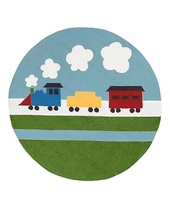 Sky & Green Train Playground Rug