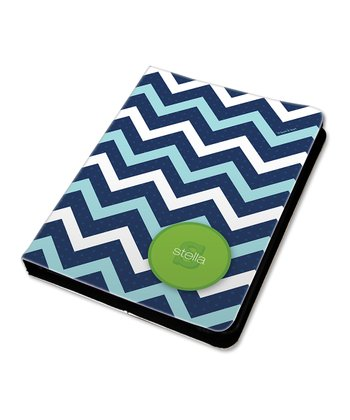 Mod Blue Zigzag Personalized Sleeve for iPad mini