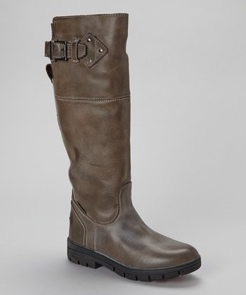 Brown Edge Leather Boot - Women
