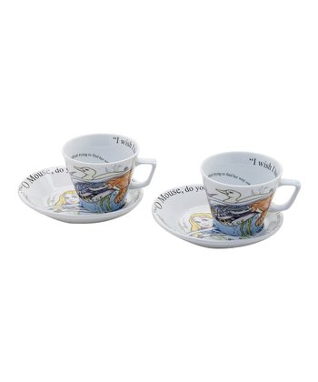 Alice in Wonderland Frothy Espresso Cup & Saucer - Set of Two