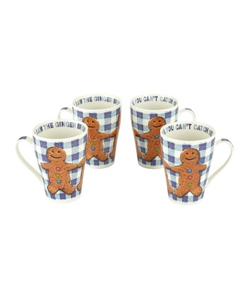 Gingerbread Man Bone China 15-Oz. Mug - Set of Four