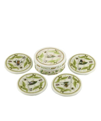 Tea Plant & Honey Bees Coaster Set