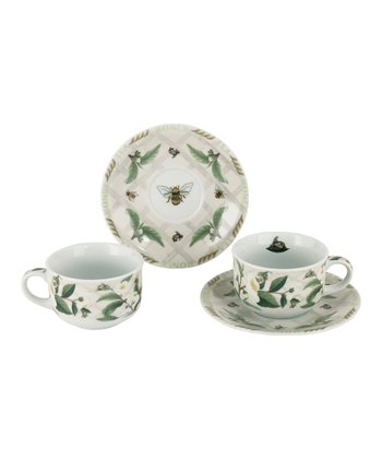 Tea Plant & Honey Bee Cup & Saucer - Set of Two