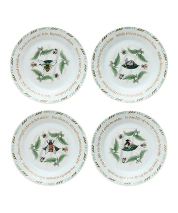 Tea Plant & Honey Bee Dessert Plate Set