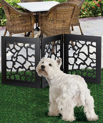 Black Giraffe Wooden Pet Gate