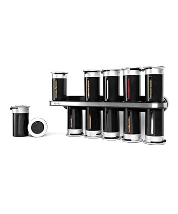 ZEVRO Black Magnetic Spice Rack Set