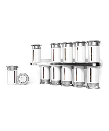 ZEVRO Silver & White Magnetic Spice Rack Set
