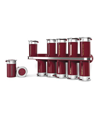 ZEVRO Red & Silver Magnetic Spice Rack Set