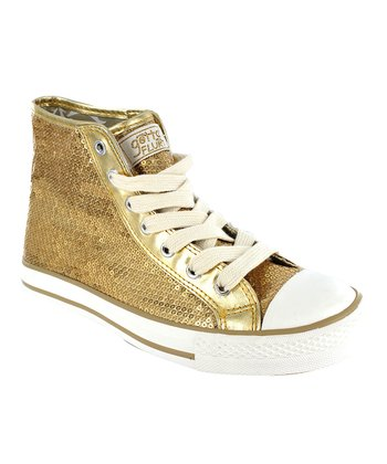 Gold Sequin Disco Hi-Top Sneaker - Women