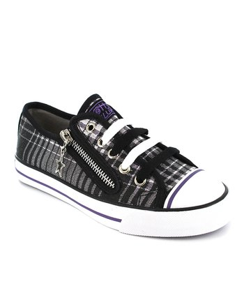 Black & Purple Plaid Lenwood Sneaker - Kids