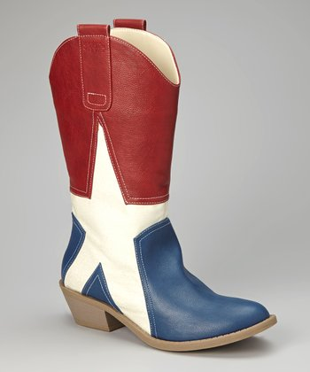 Red & White Alamo Cowboy Boot - Women