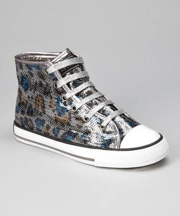 Black & Silver Madagascar Hi-Top Sneaker - Kids