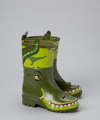 Green Toddler Dino Rain Boots