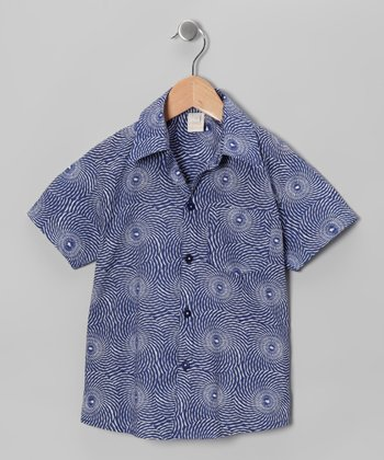 Blue Short-Sleeve Button-Up - Infant, Toddler & Boys