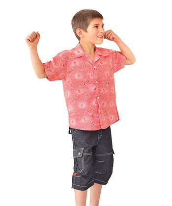 Coral Benji Short-Sleeve Button-Up - Toddler & Boys