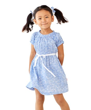 Blue Puff-Sleeve Dress - Infant