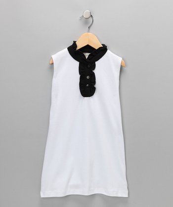 White & Black Ruffle Organic Dress