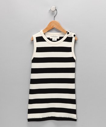 Black & White Stripe Organic Shift Dress - Infant & Toddler