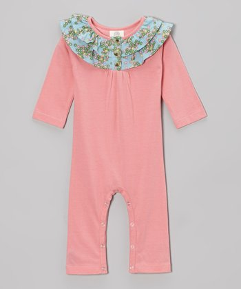 Bubblegum Floral Ruffle Organic Playsuit - Infant