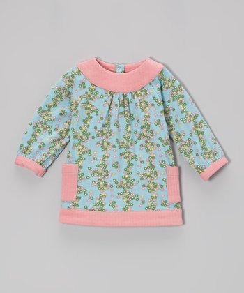 Blue Tiny Floral Organic Yoke Top - Infant, Toddler & Girls