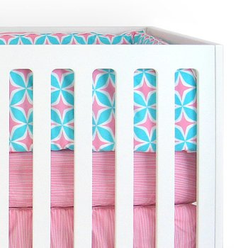 Foursquare Pink 3-Piece Crib Bedding Set