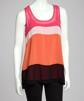 Fuchsia & Orange Color Block Tank