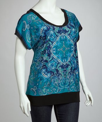 Blue & Black Open-Back Top - Plus