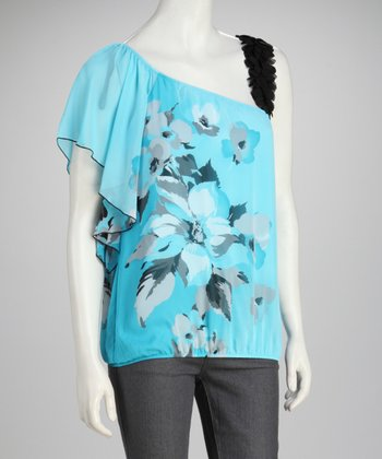 Sky Floral Asymmetrical Top