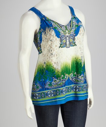 Blue & Green Plus-Size Tank