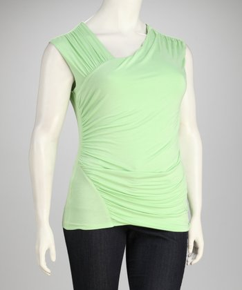 Limeade Ruched Sleeveless Top